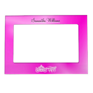 Sparkly Glitzy Pink Princess Coach & Horses Magnetic Frame