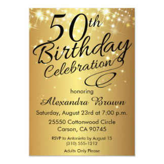 Elegant 50th Birthday Invitations & Announcements | Zazzle.co.uk