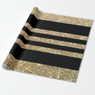 Sparkly Gold & Black Stripes Gift Wrapping Paper