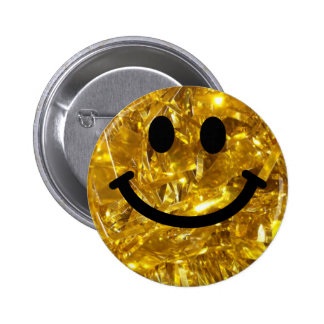 Sparkly Gold Bling Smiley Pinback Buttons