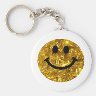 Sparkly Gold Bling Smiley Key Ring