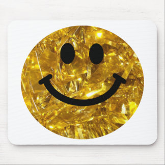 Sparkly Gold Bling Smiley Mouse Mat