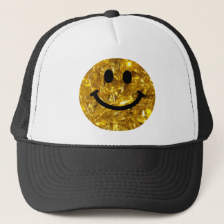 Sparkly Gold Bling Smiley Trucker Hat