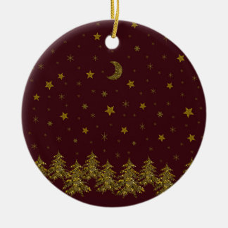 Sparkly gold Christmas tree, moon, stars on red Christmas Ornament