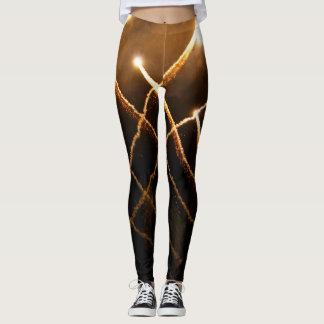 Sparkly gold fireworks light streak photo leggings