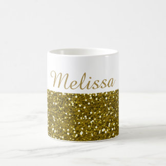Sparkly Gold Glitter Custom Name Basic White Mug