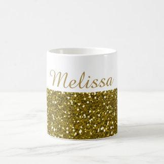 Sparkly Gold Glitter Custom Name Coffee Mug