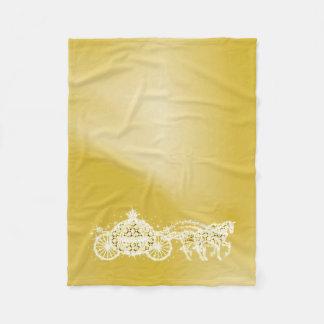 Sparkly Gold Princess Coach & Horses Fleece Blanket