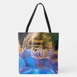 Sparkly gold princess coach photo custom monogram tote bag