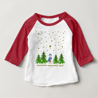 Sparkly gold stars, snowman and green tree baby T-Shirt