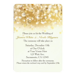 Sparkly Golden Holiday Wedding Invitation Card