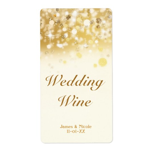 Sparkly Golden Lights Wedding Holiday Wine Label