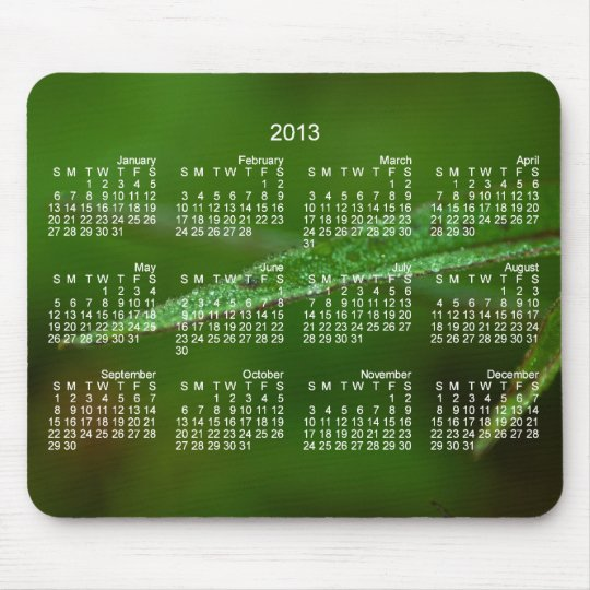Sparkly Green Leaves; 2013 Calendar Mouse Mat