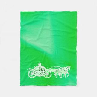 Sparkly Green Princess Coach & Horses Fleece Blanket