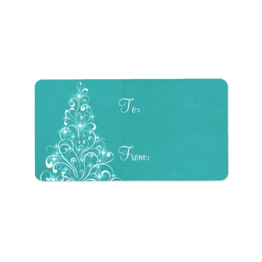 Sparkly Holiday Tree Gift Tags, Aqua Address Label