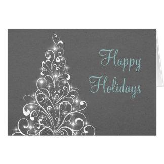 Sparkly Holiday Tree Greeting Card, Dark Gray