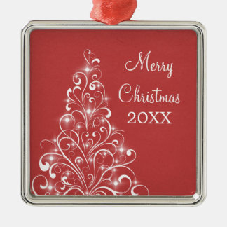 Sparkly Holiday Tree Premium Ornament, Red Silver-Colored Square Decoration