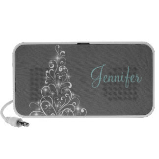 Sparkly Holiday Tree Speaker, Gray Portable Speakers