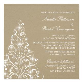 Sparkly Holiday Tree Wedding Invite Latte