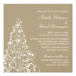 Sparkly Holiday Tree Wedding Invite Latte
