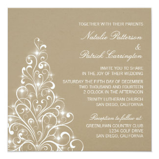 Sparkly Holiday Tree Wedding Invite, Latte