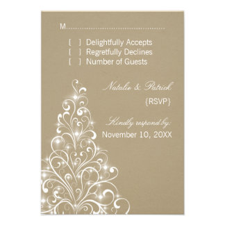 Sparkly Holiday Tree Wedding RSVP Card Latte Announcements