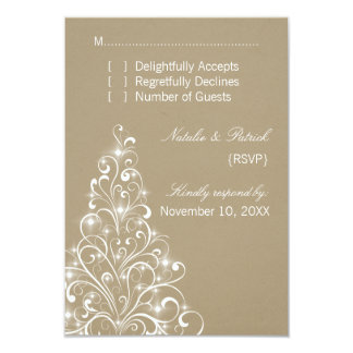 "Sparkly Holiday Tree Wedding RSVP Card, Latte 3.5"" X 5"" Invitation Card"