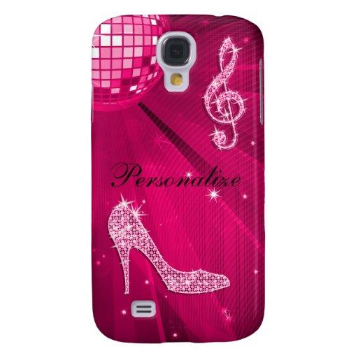 Sparkly Hot Pink Music Note & Stiletto Heel Galaxy S4 Case