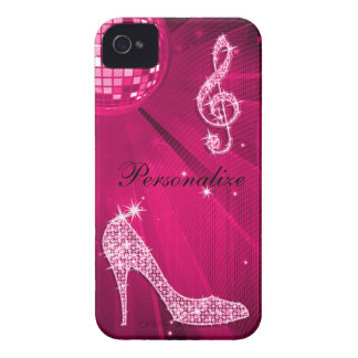 Sparkly Hot Pink Music Note & Stiletto Heel Case-Mate iPhone 4 Cases