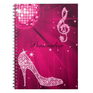 Sparkly Hot Pink Music Note & Stiletto Heel Notebook