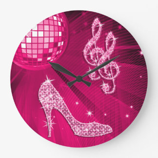 Sparkly Hot Pink Music Note & Stiletto Heel Wallclock