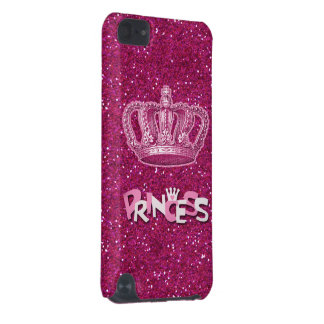 Sparkly Hot Pink Princess Glitter Vintage Crown iPod Touch (5th Generation) Cover