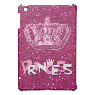 Sparkly Hot Pink Princess Glitter & Vintage Crown iPad Mini Cases