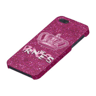 Sparkly Hot Pink Princess Glitter & Vintage Crown iPhone 5/5S Covers