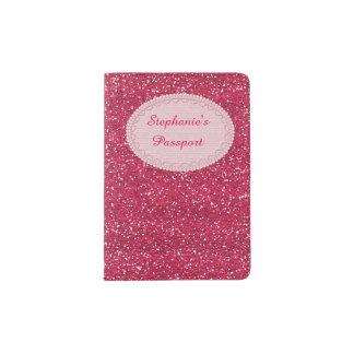 Sparkly Hot Pink & Silver Glitter Passport Holder