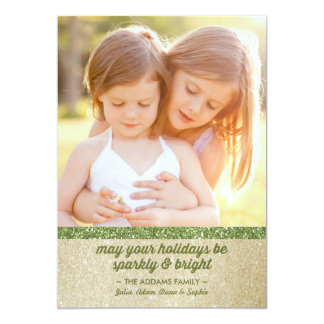 Sparkly in Green & Gold Glitter Holiday Photo Card 13 Cm X 18 Cm Invitation Card