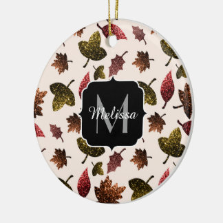 Sparkly leaves fall autumn pattern Monogram Christmas Ornament