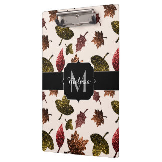 Sparkly leaves fall autumn pattern Monogram Clipboard