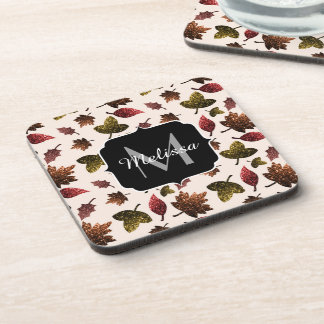 Sparkly leaves fall autumn pattern Monogram Coaster