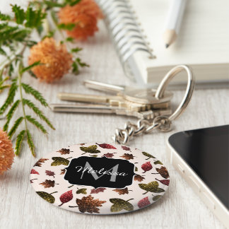 Sparkly leaves fall autumn pattern Monogram Key Ring