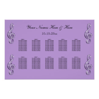Sparkly Lilac Treble Clefts Wedding Seating Chart Poster