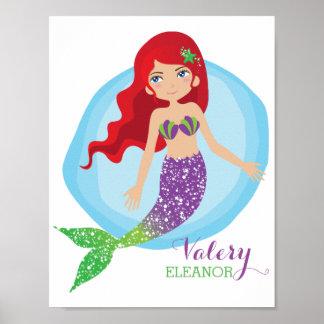 Sparkly Mermaid Personalised Poster