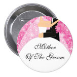 Sparkly Mother of the Groom Button / Pin Pink