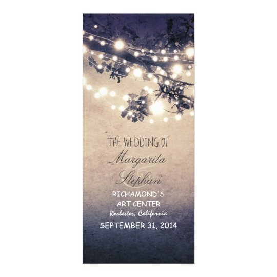 sparkly night lights romantic wedding programs custom rack
