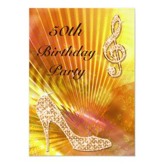 "Sparkly Orange Music Note & Stiletto 50th birthday 5"" X 7"" Invitation Card"