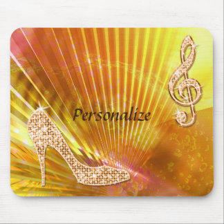 Sparkly Orange Music Note & Stiletto Heel Mouse Mat