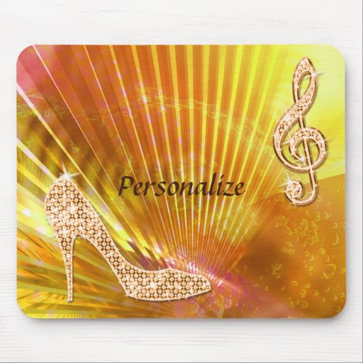 Sparkly Orange Music Note & Stiletto Heel Mouse Pads