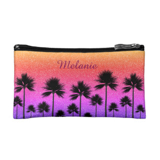 Sparkly Palm Trees Cosmetic Bag