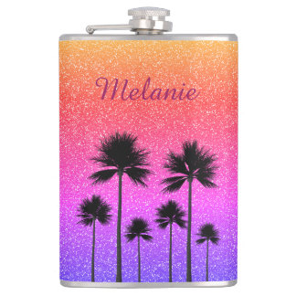 Sparkly Palm Trees Hip Flask