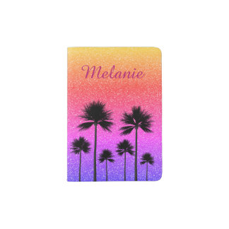 Sparkly Palm Trees Passport Holder